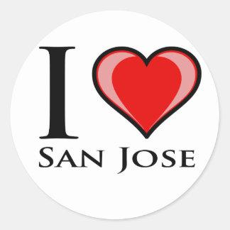 Jag älskar San Jose Runt Klistermärke