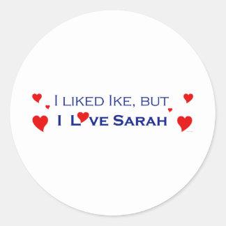 Jag älskar Sarah Palin-1 Runt Klistermärke
