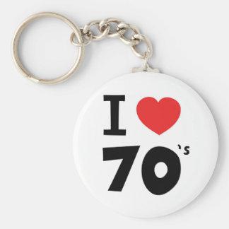 Jag älskar seventiesna rund nyckelring