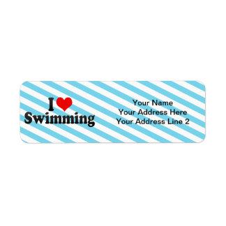 Jag älskar simning returadress etikett