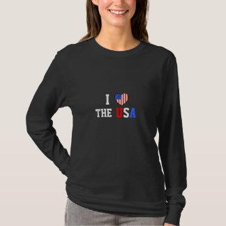 Jag älskar skjortan för USA damlångärmaden Tshirts