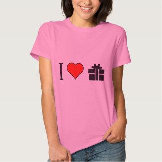 Jag älskar slågna in gåvor tee shirts
