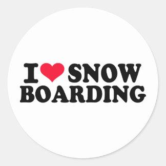 Jag älskar Snowboarding Runt Klistermärke