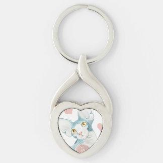 Jag älskar sphinxen! twisted heart silverfärgad nyckelring