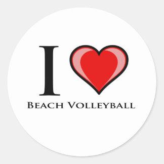 Jag älskar strandvolleyboll runt klistermärke