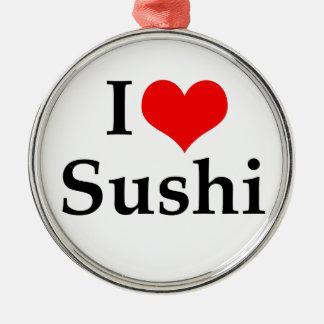 Jag älskar Sushi Julgransprydnad Metall