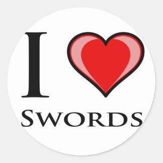 Jag älskar svärd runt klistermärke