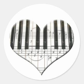 Jag älskar tangentbord för piano- eller runt klistermärke