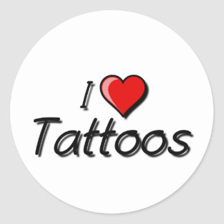 Jag älskar tatueringar runt klistermärke