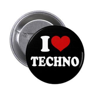 Jag älskar Techno Standard Knapp Rund 5.7 Cm