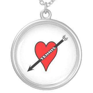 Jag älskar tennishjärta silverpläterat halsband