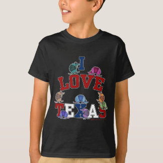 Jag älskar Texas-Färgrika bältdjur T Shirt