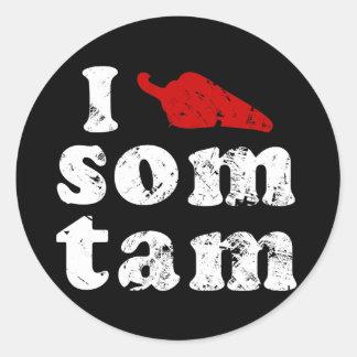 Jag älskar thailändsk Isaan Laos för SomTam ❤ mat Runt Klistermärke