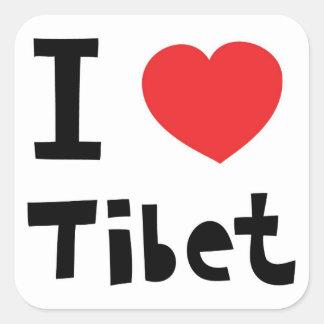 Jag älskar Tibet Fyrkantigt Klistermärke