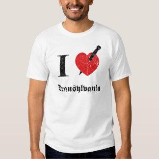 Jag älskar Transylvania (svarten eroderade Tee Shirts