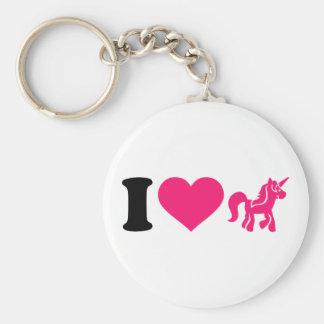 Jag älskar unicorn rund nyckelring