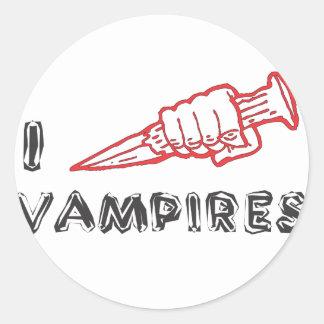 Jag älskar vampyrer runt klistermärke