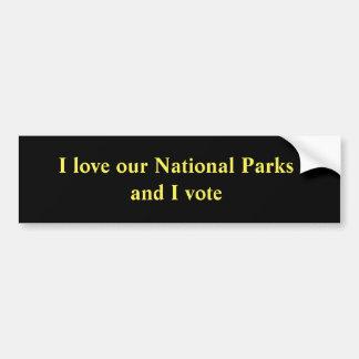 Jag älskar våra nationalparker, och jag röstar bildekal
