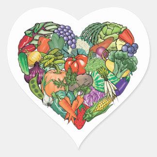 Jag älskar Veggies Hjärtformat Klistermärke