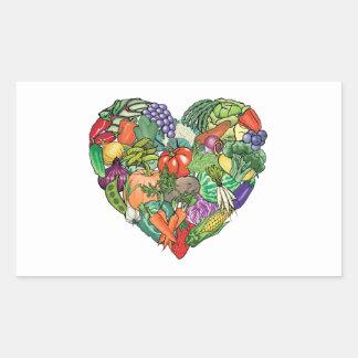 Jag älskar Veggies Rektangulärt Klistermärke