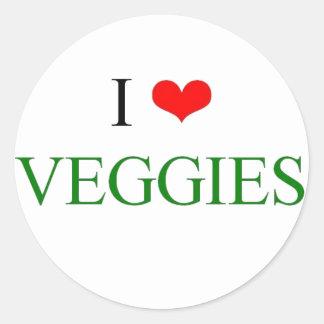Jag älskar veggies runt klistermärke