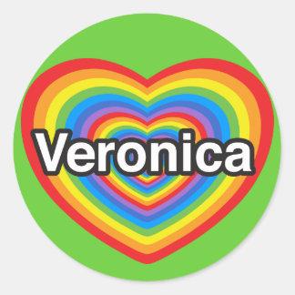 Jag älskar Veronica. Jag älskar dig Veronica. Runt Klistermärke