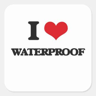 Jag älskar Waterproof Fyrkantigt Klistermärke