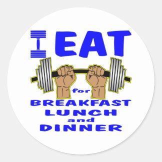 Jag äter skivstångar för frukost, lunch och middag runt klistermärke