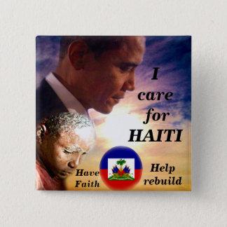 Jag att bry sig för Haiti_ knäppas Standard Kanpp Fyrkantig 5.1 Cm