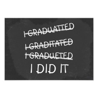 Jag avlade examen den roliga svart tavlan för stav tillkännagivande