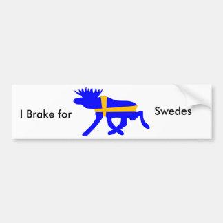 Jag bromsar för svenskar bildekal