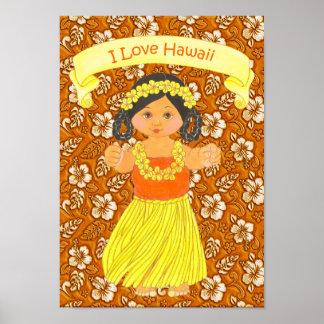 Jag den Hula älskar för Hawaii affisch-/tryck~ fli Poster