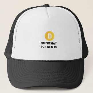 Jag den inte glada förmiddagen men en bitcoin är truckerkeps