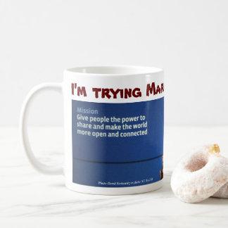 Jag den pröva förmiddagen markerar muggen vid kaffemugg