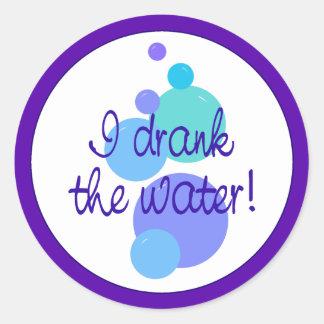 Jag drack vatten runt klistermärke