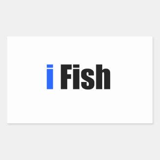 jag fiskar rektangulärt klistermärke