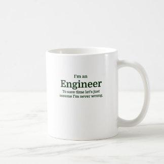 Jag förmiddagen en ingenjör som sparar tid, l5At Vit Mugg