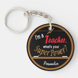 Jag förmiddagen en lärare, vad är din toppen, rund enkelsidig nyckelring i akryl