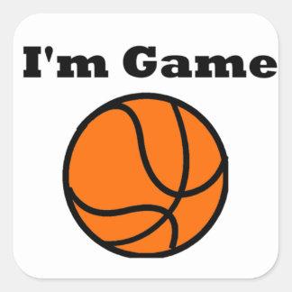 Jag förmiddagen spelar (basket) fyrkantigt klistermärke