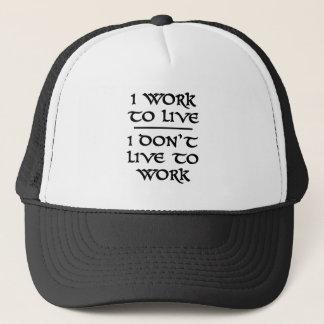 Jag fungerar för att bo mig bor inte för att truckerkeps