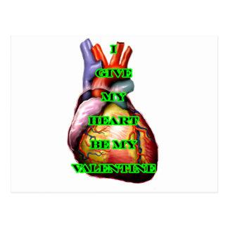 Jag ger min hjärta är min valentingrönt MUSEET Z Vykort