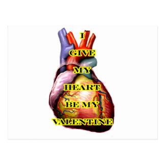 Jag ger min hjärta är min valentingult MUSEET Vykort