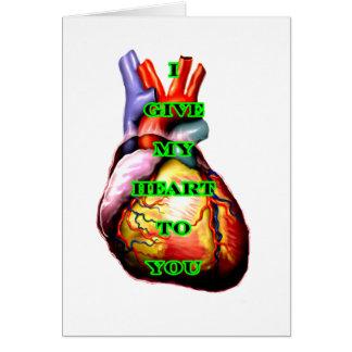 Jag ger min hjärta till dig svart grönt MUSEET Zaz Hälsningskort