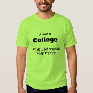 Jag gick till högskolan och nedlusade t shirts