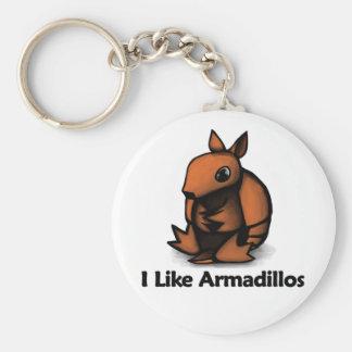 Jag gillar bältdjur rund nyckelring