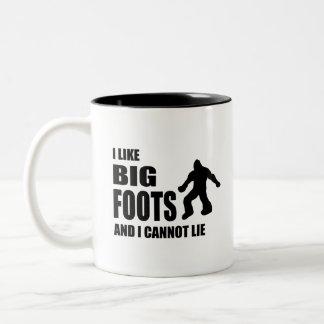 Jag gillar Bigfoots, och jag kan inte ljuga Två-Tonad Mugg
