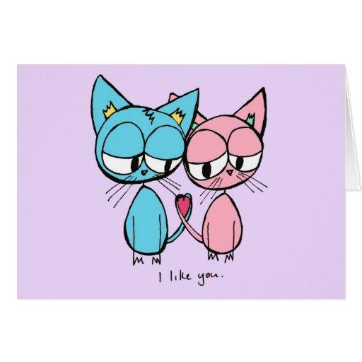 jag gillar dig - blått- och rosakattungar hälsningskort