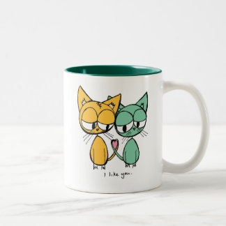 jag gillar dig - orangen och muggen för gröntkattu kaffe mugg