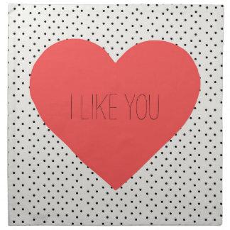 Jag gillar dig röda hjärtatrasaservetter tygservett