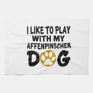 Jag gillar för att leka med min Affenpinscherhund Handhandukar